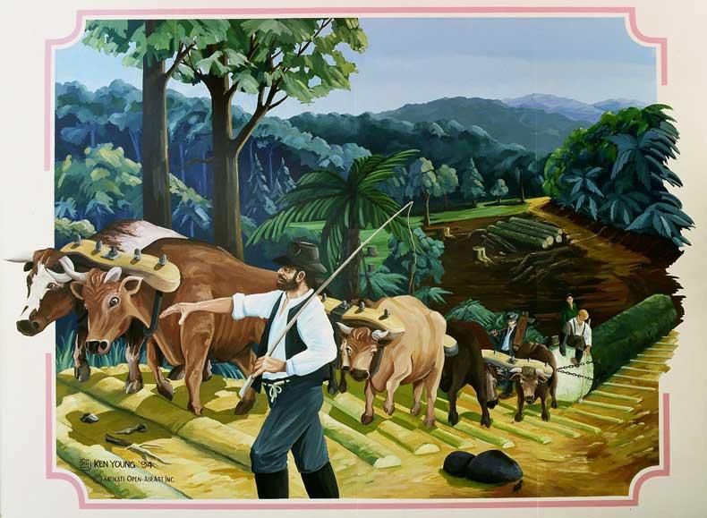 Bullock Team Mural - Katikati