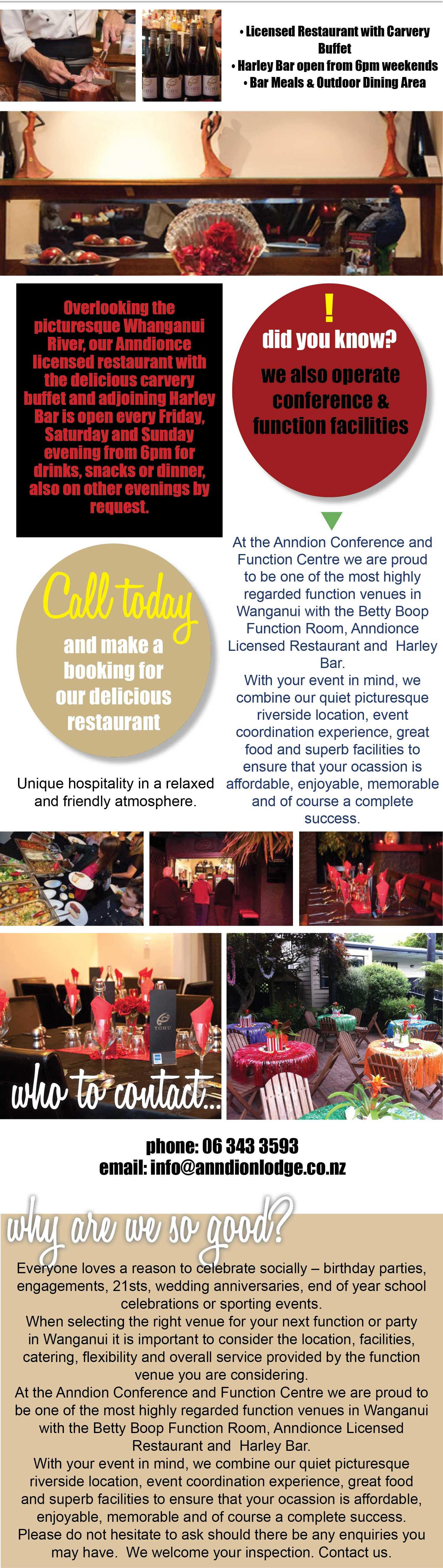 Anndionce Restaurant and Harley Bar, licensed restaurant, carvery buffet, open 6pm weekends, other evenings by request, bar meals, indoor & outdoor dining area, function and conference facilities