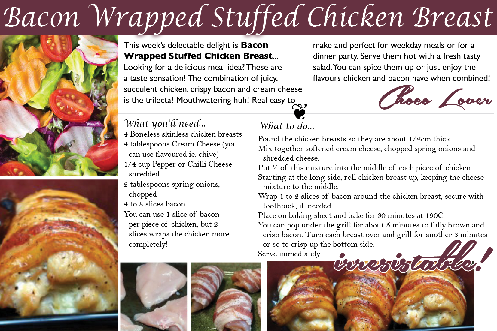 Bacon Wrapped Stuffed Chicken Breast, Looking for a delicious meal idea? These are a taste sensation! The combination of juicy, succulent schicken, crispy bacon and cream cheese is the trifecta!