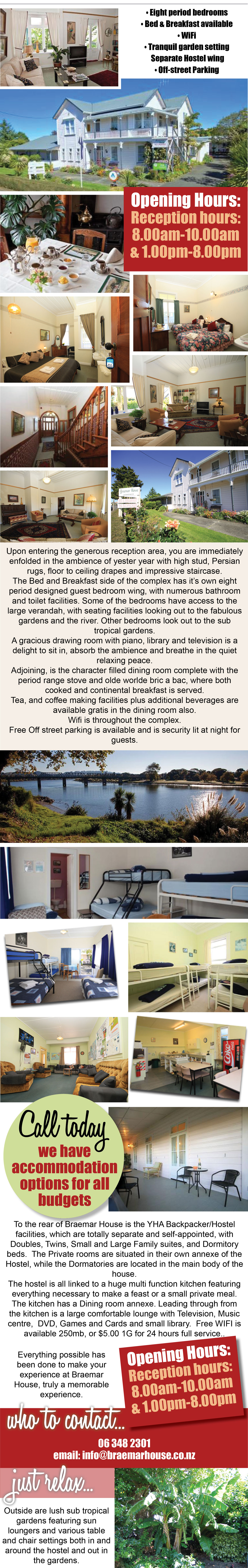Braemar House, Wanganui, Victorian Homestead. Bed & Breakfast, Hostel, Backpackers, accommodation for all budgets, Wifi, Wanganui, Whanganui River views, off-street parking, Wanganui accommodation, place to stay