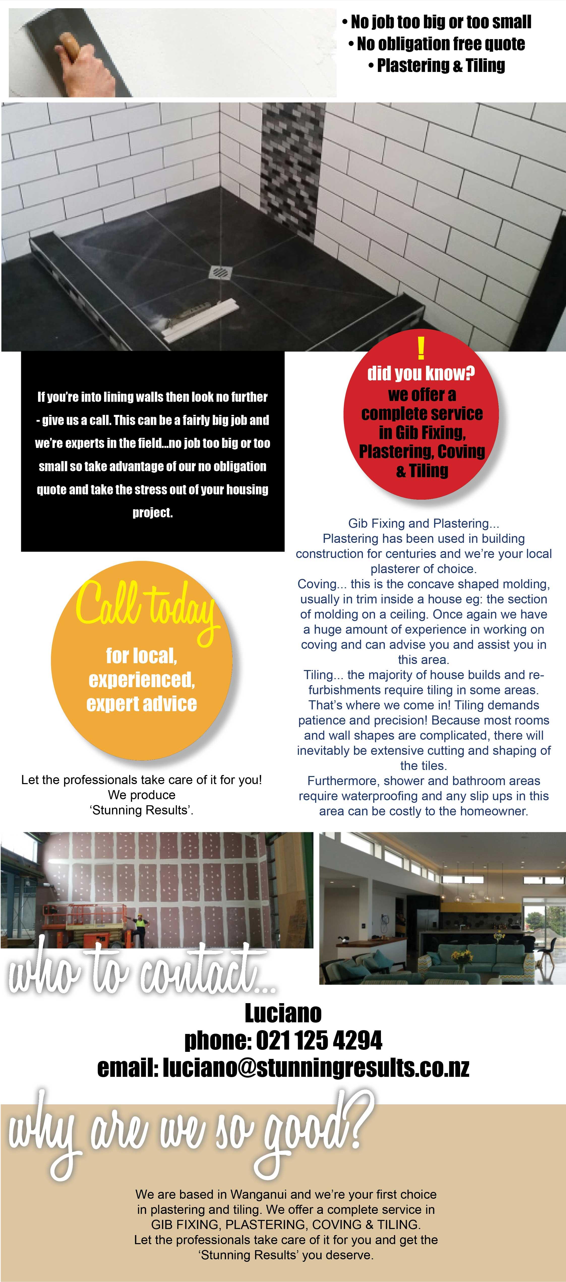 Plastering, Gib Fixing, Coving, Tiling. Free quotes. Wanganui Plasterers. Plasterers Wanganui