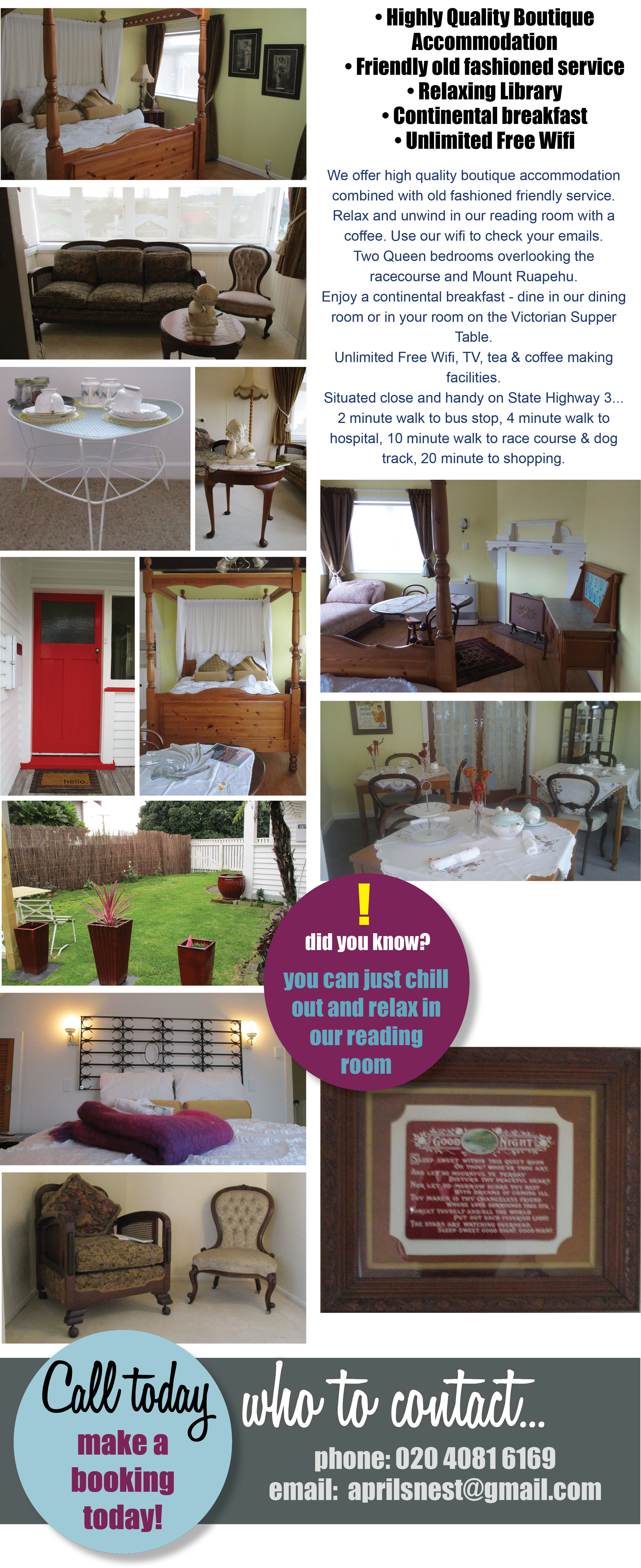 Highly Quality Boutique Accommodation, Friendly old fashioned service, Relaxing Library, Hot cooked breakfast, Free Wifi, Aprils Nest, B&B Wanganui. Wanganui B&B