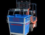 Forklift Bin Denester unstack + unload in operation