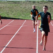 Connor Munro wins the 200m sprint at Jnr Athletics Day Cooks Gardens, March 2016.