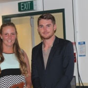 Jessica Watkin with professional Ben Smith at her side as she claimed her fourth successive JUNIOR CRICKETER OF THE YEAR title, April 2016.