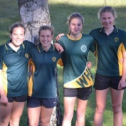WELL DONE to our Junior Girls 'Round the Lake Relay' Team who won their grade; From left to right: Libby Abbott, Rebecca Baker, Paris Munro & Renee Teers; 11/9/17.