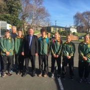 Our Cross Country team with Principal Martin McAllen before they depart for the NZSS Champs in Christchurch, May 2017.