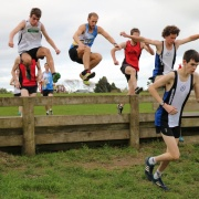 Wanganui Harriers athletes Liam Jones (WHS student - arms raised) & Thomas Conder (right) finished a creditable 4th (Jones) & 5th in the older U20 men div of the Hughes Memorial in Hawera, June 2017.