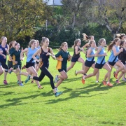 Rebecca Baker (middle) 2nd, Wanganui Secondary School Cross Country held at Collegiate on 26/5/16.