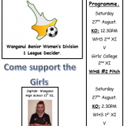 Another outstanding season for our WHS girls 1st XI Football team & coach Colm Smyth as they head into the GRAND FINAL Wanganui Sen Women's Div 1, 27/8/16.