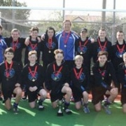 The Wanganui U15 Boys Hockey Team with their NATIONAL Champ medals in Invercargill, 7 Oct 2017. At his 3rd U15 Nationals, Captain & MVP Connor Hoskin fin with 7 goals, midfielder Nathan Cohen also a strong player, Chron 9/10/17.