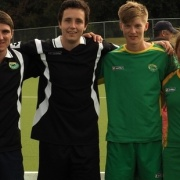 Hockey stars (from left) Ben Pilet, Reid Atkinson, Lee Moir & Emma Rainey have made the Central U21 rep teams to compete at Nat Regional Tourn, Dunedin in May. All 4 are past/present students, March 2016.