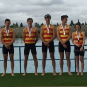 SILVER Medal for men's club coxed four of Sandston; WHS students' Nathan Luff, Guy Thomson, Ben Tijsen-Cox & cox Niamh Mullany, Feb 2017.