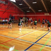 Girls team on defence at NSS Volleyball Champs, Palmerston North, 26 > 31 March 2017.