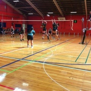 Girls team blocking at the NSS Volleyball Champs, Palmerston North, 26 > 31 March 2017.