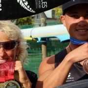 FAMILY MEDALS: Anne & former WHS student DANIEL KAUIKA with their MEDALS from the VAA WORLD SPRINTS on the Sunshine Coast, Chronicle 21/5/16.