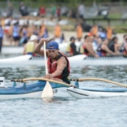 DANIEL KAUIKA powers to the finish line in 1:0316 to WIN GOLD in the J19 Boys W1 250m final at the 2015 National SS Waka Ama Champs in Rotorua, March 2015.