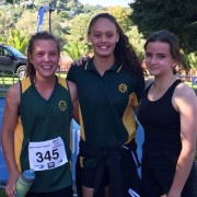 Girls competing in the NZSS Triathlon Champs held in Wanganui, 29-31 March 2017.