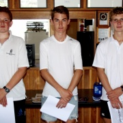 Overall Wanganui Schools sailing Regatta WINNER JACK SOUTHEE (WHS) is flanked portside by 3rd placed Felix Schrider (WCS) with 2nd placed Tom Evans (WCS) starboard, March 2016.