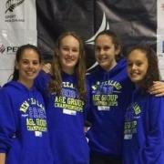 Wanganui Team members, L>R; Elena Forlong (WHS), Niamh Hogan (WHS), Schimanski & Sarya Lower (WHS) did the club proud at the National Age Gp Champs in Wellington, Chron 27/4/16.