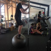 Y13 student Finn Brown getting psyched up ready to hold a 20kg bar on a Swiss ball!.. (2015) ..