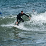 WHS students surfing at Castlecliff Beach, 2017.