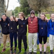 Whanganui paddlers (from left) Matt Foster (Katie's Dad), WHS students' Ben Foster, Liam Lace, Katie Foster, Cambell Tanner, Brian Scott (coach), Erica Tanner (ex WHS), Anna Clifton & Jack Clifton stars of National 10km Champs, Chron 31/8/16.