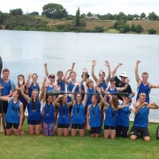 Whanganui kayakers, the majority made up of past & present WHS students, at Lake Karapiro celebrate their successes, Chron 21/3/16.