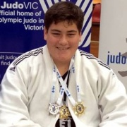 WATSON taking SILVER in Cadets plus 81kg grade at AK Open Judo International, Chron 4/8/17.