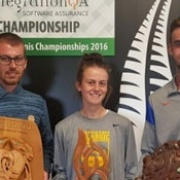 Former students (L-R); SAM, PARIS & KYLE BUTTERS with their trophies, Maori Tennis Champs in Hamilton, Chron 2/1/17.