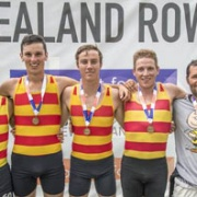 GOLD Medal at NZ Rowing Champs, Lake Karapiro for AWRC senior coxless quad of current/ former students; Levi Carroll, Guy Thomson, Nathan Luff & Luke Watts, along with coach Pedro Figueira, Chronicle 19/2/18.