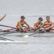 The AWRC crew celebrate crossing the line to win gold at NZ Rowing Champs, Lake Karapiro, Wanganui Chronicle 19/2/18.