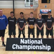 Senior Boys with coach Ross Cronshaw at Secondary Schools 3X3 Champs in Tauranga, 21-23 March 2018.