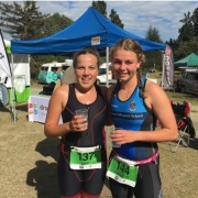 Awesome result for Libby Abbott (left) at the NZSS Triathlon finishing 21st in her grade, March 2018.