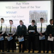 Lining up are the WHS Boys 1st XI HOCKEY TEAM, named SENIOR TEAM OF THE YEAR at the WSS Sports Awards, 31/10/18.  PHOTO / Stuart Munro.