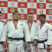 KEIGHTLEY WATSON, far left, won two medals at the Macau Asian Cup in China; bronze in the +90kg weight division of Cadets & a silver in the +100kg division of Junior Men's, Chronicle 24/7/18.
