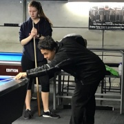 2018 NZSS National 8-Ball Champs in Hamilton 7/9/18.  Kaleb-Lee Taylor playing a shot.