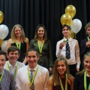 Sophie Brooke (back left)  - BLUE AWARD (highest level of her sport at secondary school level) - NZ Title, K1 U18 Canoeing; WHS Sports Awards 18/10/18.