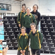 All of these students recorded PBs in their own events! L>R; front - Blair Gowan, Lennart Nowak; back - Amelia Cronin, Cayden Earles, Lucy Somerville. NZSS Swimming Champs, Wellington Regional Aquatic Centre, 13-16 September 2018.