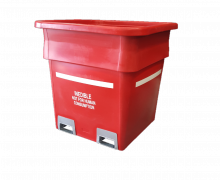 1000L Plastic Offal and Processing Bin with Box Section, Nesting Rim and Fork Rotatable Insert Sleeves