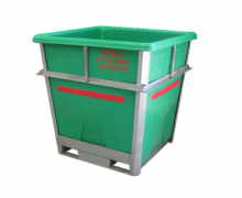 1000L Heavy Duty Hide and Food  Processing Fully Galvanised Steel Framed Bin with Plast-ax Replaceable Plastic Liner - Light Green
