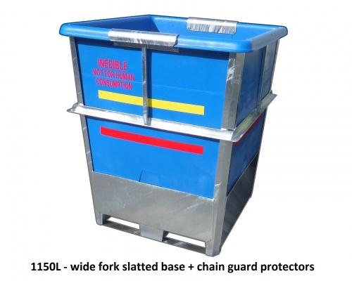 steel framed plastic industrial bin - 1150L Plast-ax