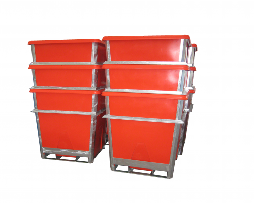 Nested 1000L Steel Framed Plastic Hide Bins