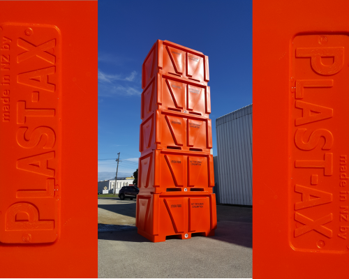 Plast-ax Bulk Containment Pallet bins - stacked with water