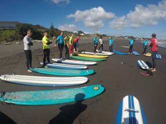 International students Surf Trip, New Plymouth 14/3/18.